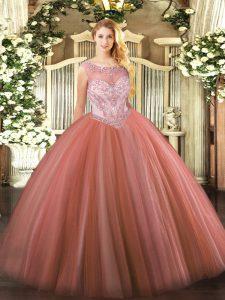 Charming Tulle Sleeveless Floor Length Sweet 16 Dress and Beading