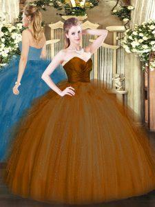 Brown Ball Gowns Tulle Sweetheart Sleeveless Ruffles Floor Length Zipper Quince Ball Gowns