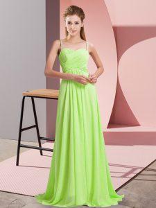Amazing Yellow Green Empire Chiffon Spaghetti Straps Sleeveless Ruching Criss Cross Prom Dresses Sweep Train