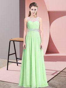 Scoop Sleeveless Chiffon Prom Party Dress Beading Zipper