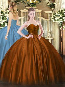 Great Sweetheart Sleeveless Organza 15th Birthday Dress Ruching Zipper