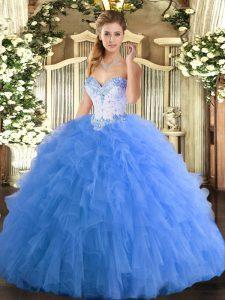 Popular Sleeveless Lace Up Floor Length Beading and Ruffles Sweet 16 Dresses