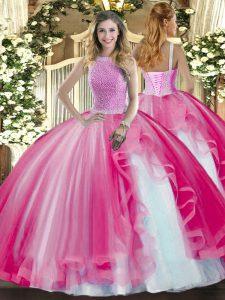 Popular Floor Length Hot Pink 15th Birthday Dress High-neck Sleeveless Lace Up