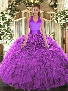 Fuchsia Sleeveless Floor Length Ruffles Lace Up Sweet 16 Quinceanera Dress