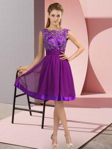 Purple Empire Chiffon Scoop Sleeveless Appliques Knee Length Backless