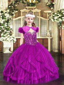 Straps Sleeveless Custom Made Pageant Dress Floor Length Beading and Ruffles Fuchsia Tulle
