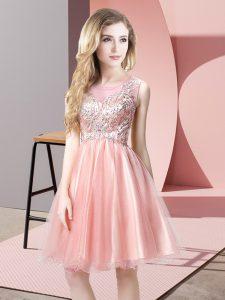 Stunning Baby Pink Sleeveless Knee Length Beading Zipper Prom Dress