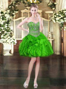 Artistic Sweetheart Sleeveless Prom Dress Mini Length Beading and Ruffles Green Organza