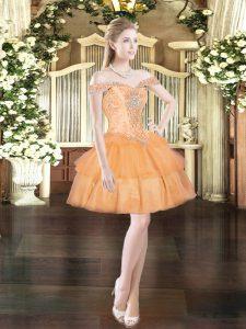 Orange Red Lace Up Prom Dress Beading and Ruffled Layers Sleeveless Mini Length