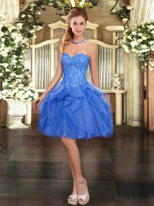 Eye-catching Tulle Sleeveless Mini Length Homecoming Dress and Beading and Ruffles