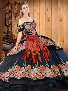 Luxury Floor Length Black Sweet 16 Dresses Off The Shoulder Short Sleeves Lace Up