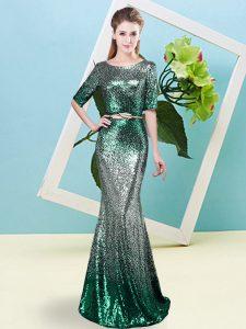 Scoop Half Sleeves Sequined Prom Gown Sequins and Belt Zipper
