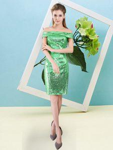 Glorious Green Column/Sheath Sequins Prom Dress Zipper Sequined Short Sleeves Mini Length