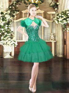Trendy Dark Green Sleeveless Beading and Ruffled Layers Mini Length