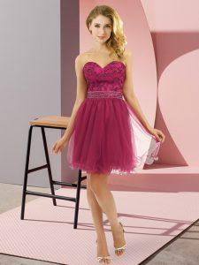Extravagant Fuchsia Sweetheart Zipper Beading Homecoming Dress Sleeveless