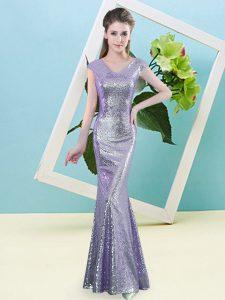 Dazzling Cap Sleeves Zipper Floor Length Sequins Prom Party Dress