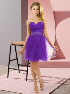 Purple Zipper Sweetheart Beading Prom Evening Gown Tulle Sleeveless