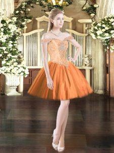 Flirting Orange Red Sleeveless Beading Mini Length Prom Gown