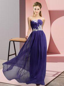 Superior Floor Length Purple Prom Dresses Chiffon Sleeveless Appliques