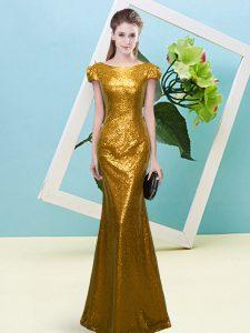 Gorgeous Gold Sequined Zipper Scoop Cap Sleeves Floor Length Sequins