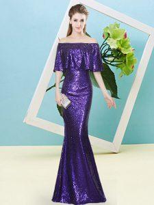 Floor Length Mermaid Half Sleeves Purple Evening Dress Zipper