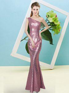 Floor Length Coral Red Prom Dress One Shoulder Sleeveless Zipper