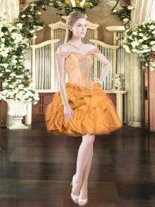 Orange Red Sleeveless Beading and Ruffles Mini Length Prom Dress