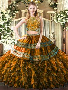 Luxury Brown High-neck Neckline Beading and Ruffles Sweet 16 Quinceanera Dress Sleeveless Zipper
