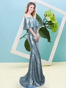 Super Floor Length Light Blue Prom Gown Off The Shoulder Half Sleeves Zipper