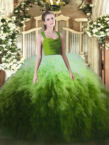 On Sale Multi-color Organza Zipper Straps Sleeveless Floor Length Quinceanera Dresses Ruffles