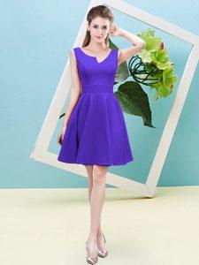 Mini Length Purple Bridesmaid Dresses Satin Sleeveless Ruching