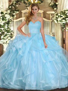 Artistic Aqua Blue Lace Up Sweet 16 Dress Ruffles Sleeveless Floor Length