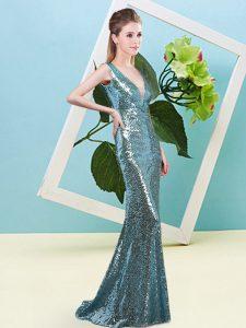 High End V-neck Sleeveless Zipper Prom Dresses Teal Sequined