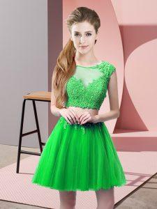Scoop Sleeveless Zipper Prom Dresses Green Tulle