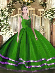 Smart Green Zipper Straps Ruffled Layers and Ruching 15th Birthday Dress Organza Sleeveless