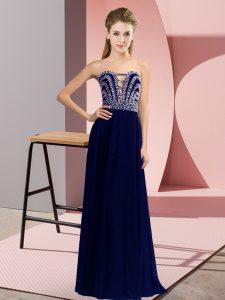 Floor Length Blue Homecoming Dress Sweetheart Sleeveless Lace Up