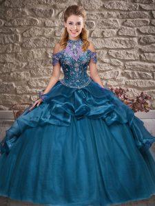 Halter Top Sleeveless Ball Gown Prom Dress Floor Length Beading and Ruffles Blue Organza