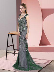 Enchanting Sleeveless Sweep Train Zipper Beading Prom Dress