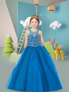 Blue Scoop Neckline Beading Little Girls Pageant Gowns Sleeveless Zipper