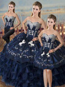 Floor Length Three Pieces Sleeveless Navy Blue Sweet 16 Dress Lace Up