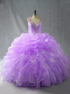 Sleeveless Beading and Ruffles Zipper Sweet 16 Quinceanera Dress