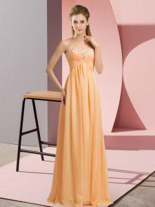 Sleeveless Lace Up Floor Length Beading