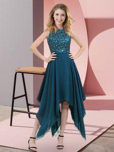 Empire Prom Dress Teal High-neck Chiffon Sleeveless Asymmetrical Zipper
