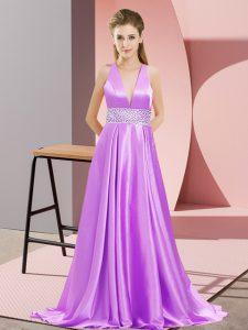 Lavender Sleeveless Brush Train Beading Prom Dress