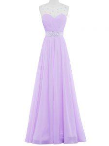 Noble Lavender Sleeveless Floor Length Beading Backless Prom Gown