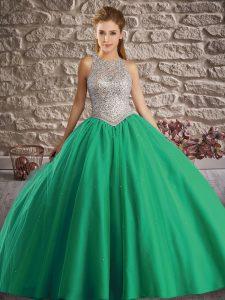 Beauteous Turquoise Tulle Backless Vestidos de Quinceanera Sleeveless Brush Train Beading
