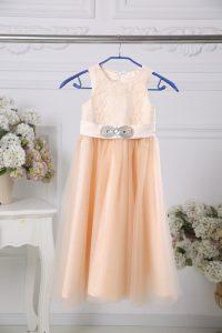 Floor Length Empire Sleeveless Peach Toddler Flower Girl Dress Zipper