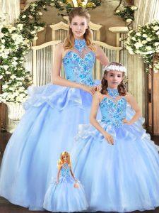 Custom Made Embroidery 15th Birthday Dress Blue Lace Up Sleeveless Floor Length