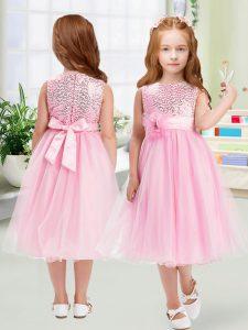Rose Pink Sleeveless Sequins and Hand Made Flower Tea Length Toddler Flower Girl Dress
