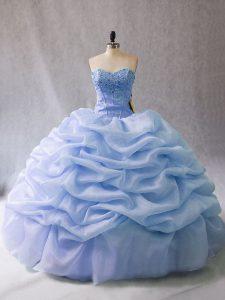Dynamic Light Blue Sweetheart Neckline Beading and Pick Ups Sweet 16 Dresses Sleeveless Lace Up